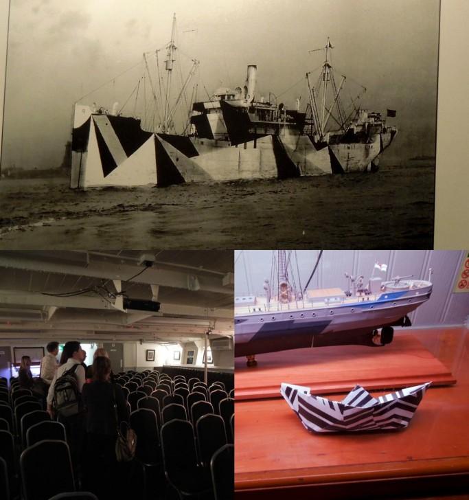 迷彩パターンの折り紙で作った船も一緒に展示