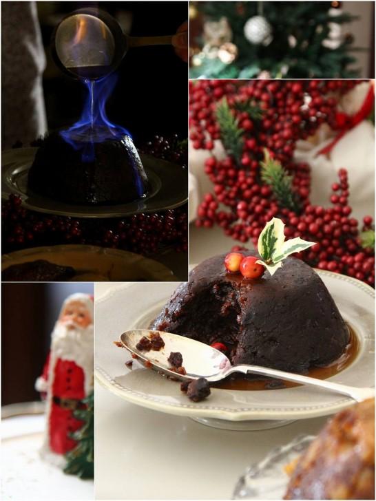 青い炎とブランデーの香りに包まれるクリスマスプディング☆