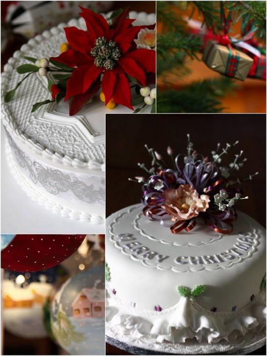 地味なフルーツケーキもデコレーションで華やかなクリスマスケーキに☆