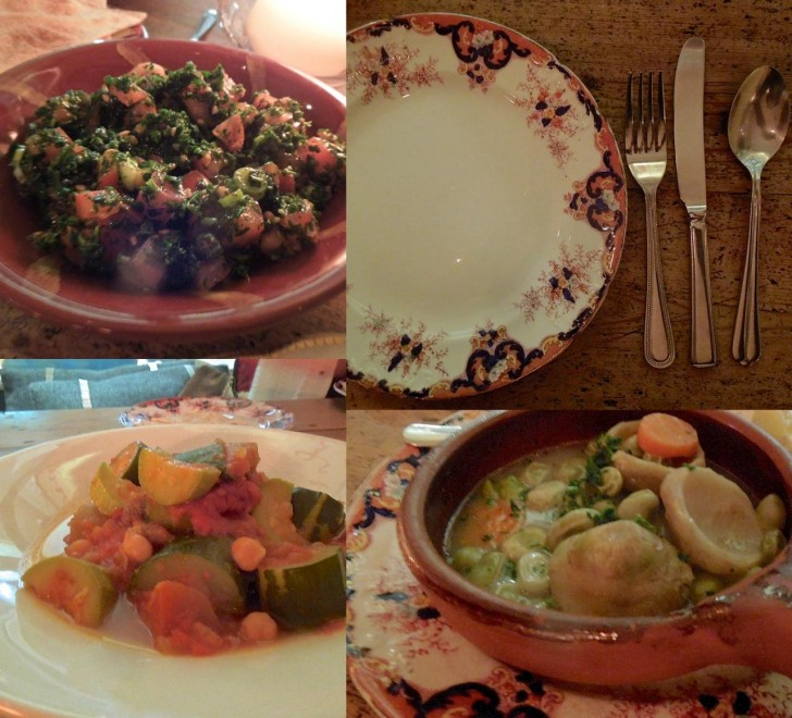 パセリとトマトのタボウル(左上)、アーティチョークと空豆(右下)、そしてモロッコのタジーン風のクスクスが敷かれた野菜のムサカ(左下)