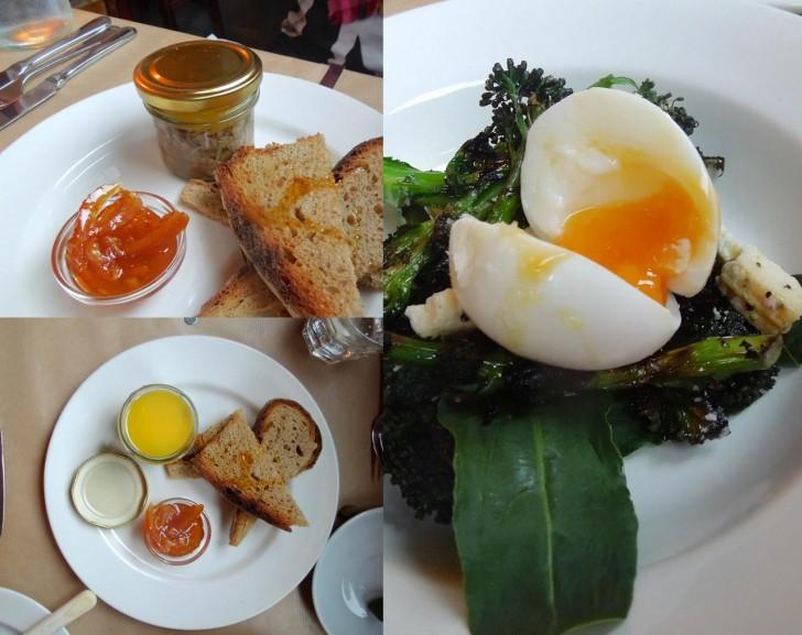 ポテッド・ラビットとマーマレード、パープル・ブロッコリーとペコリーノ、半熟卵のスターターはいずれも地に足着いたお味☆
