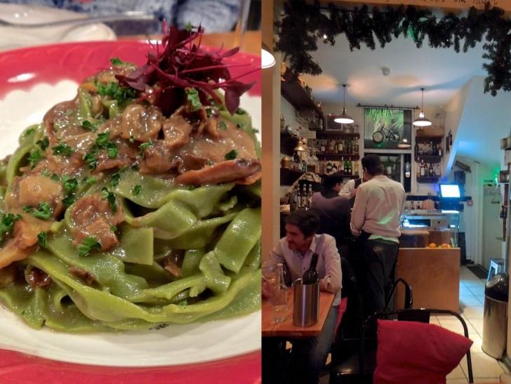 奥がバーになっていて、その奥のパティオにキッチンがある模様。左はポルチーニのタグリアテッレ