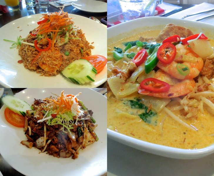 左上がナシゴレン、右が具沢山ラクサ。左下はシーフードと野菜、平打ち麺を炒めたヌードル・ディッシュ
