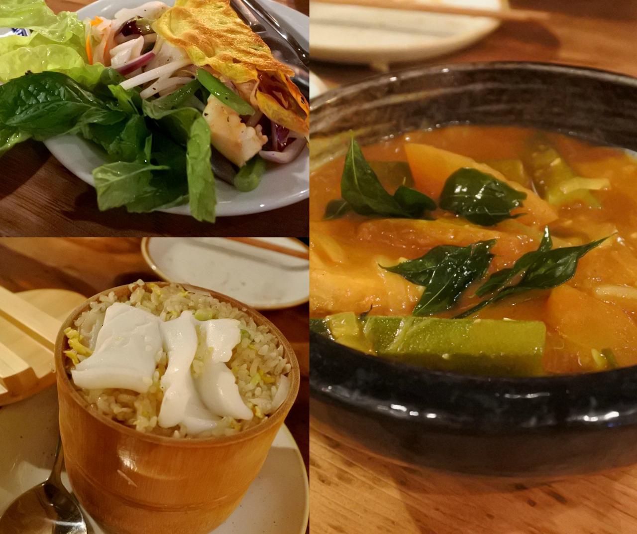 シーフード・カレー(右)、ベトナム風パンケーキ(左上)、シーフード・ライス