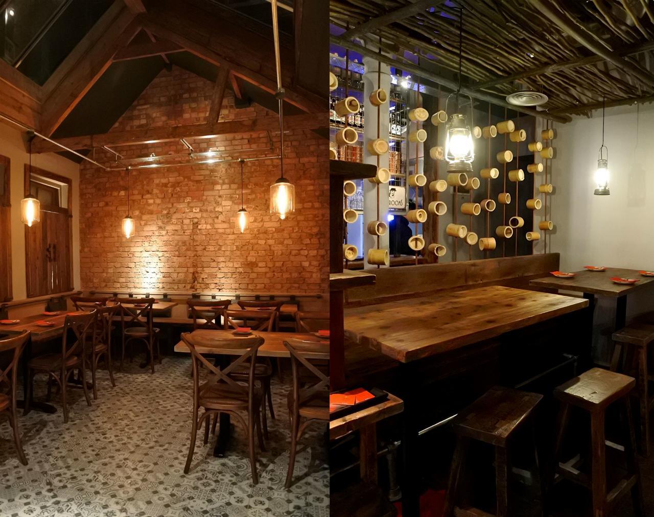 写真左は2階奥のスペース、右は1階席