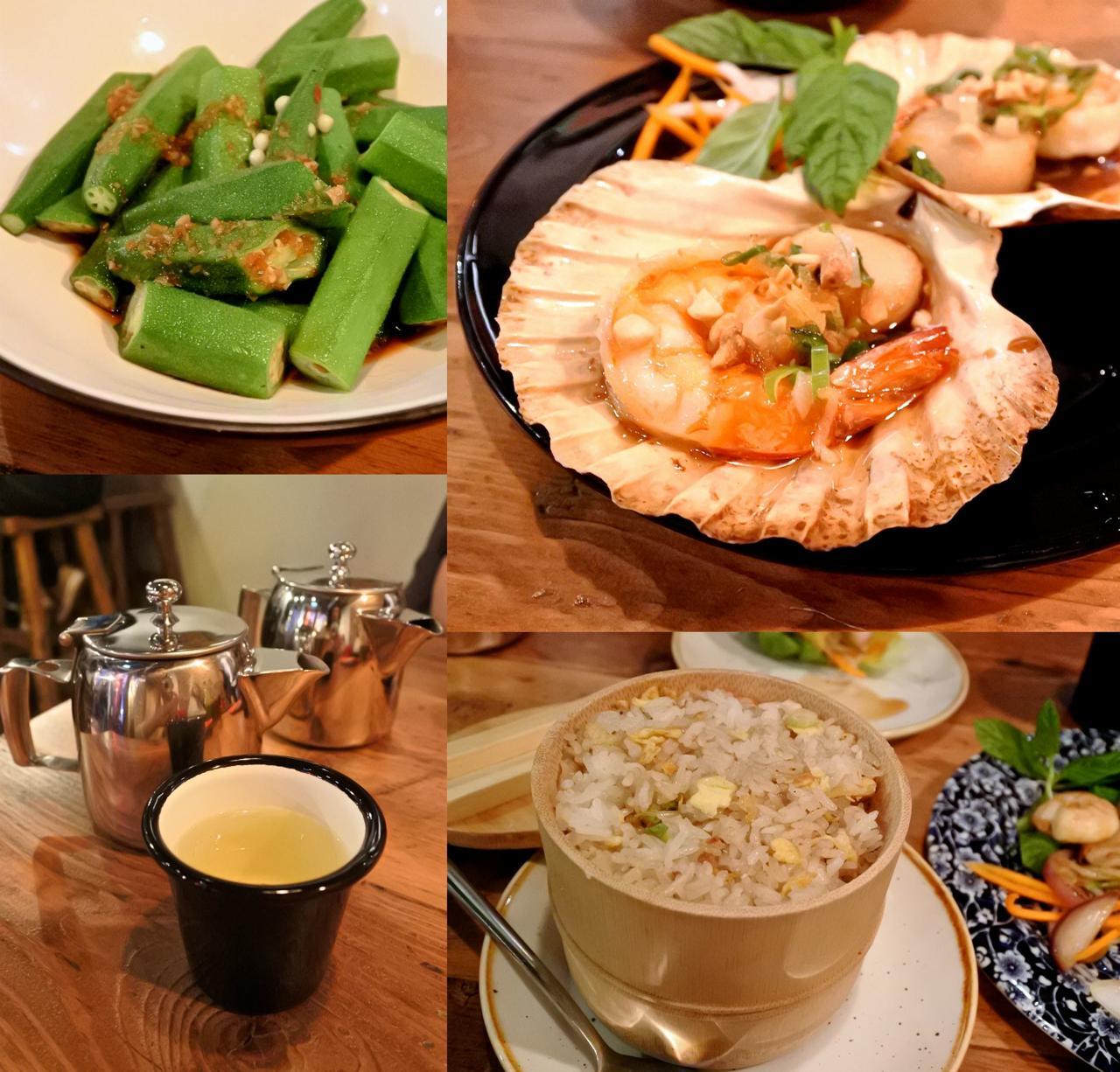 ソースが決め手のホタテと海老のグリル(右上)、海老炒飯(右下)、さっぱり味のオクラのしょうゆ和え(左上)、レモングラス・ティー