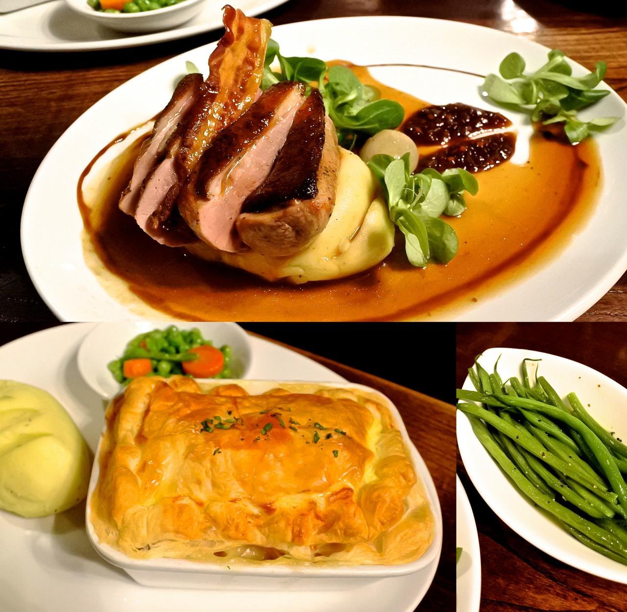 鴨胸肉&マッシュ・ポテト、チキン・パイ、どちらも上質のパブ飯☆