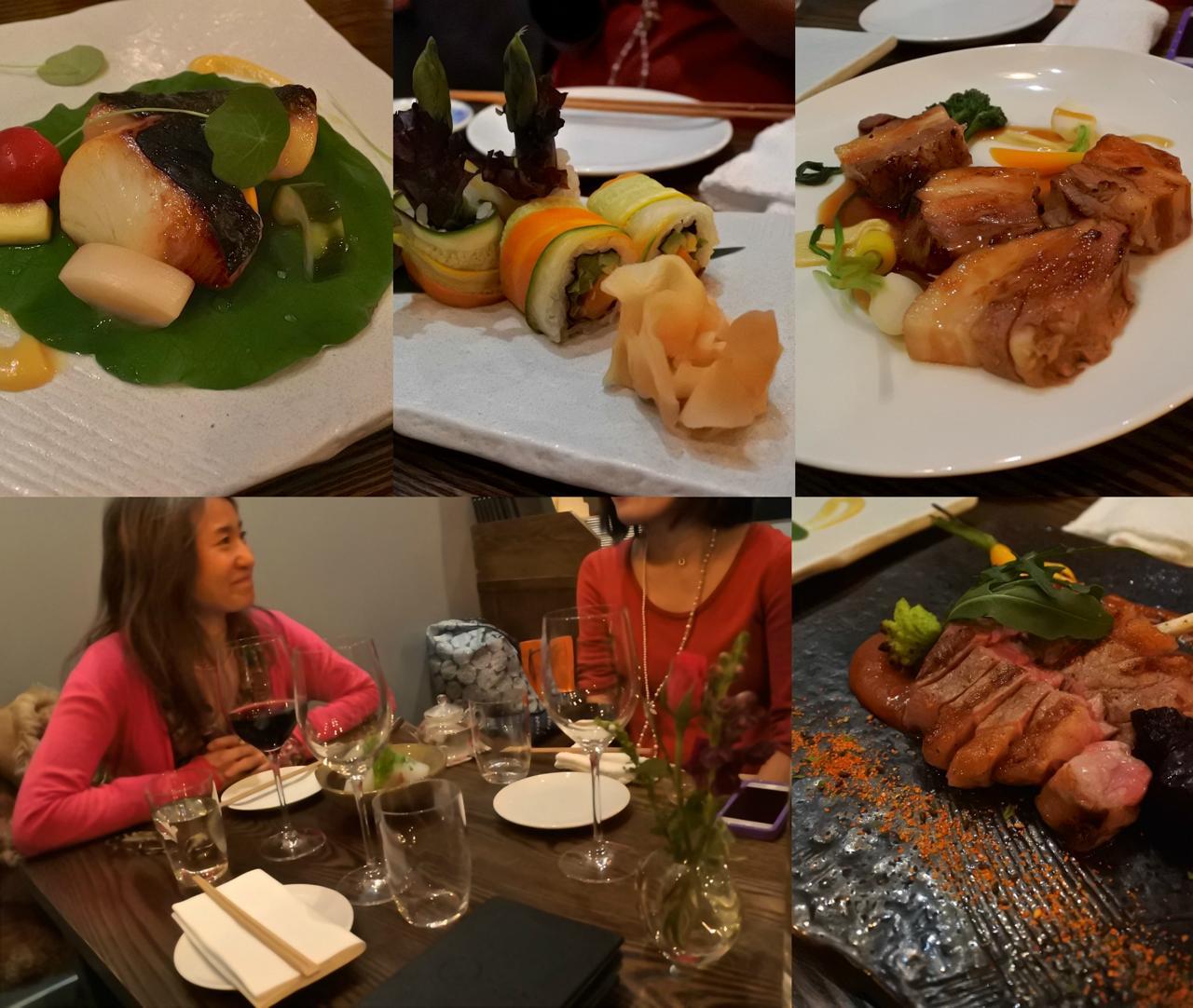 左上は初めて注文した銀ダラ西京焼☆ お魚はもちろんのこと、野菜のピクルスまで旨い!  野菜巻き(上中)は超おすすめ。Time Machineと名付けられた豚の角煮的な料理も美味。左下は唯一顔出しOKのカイルさん ^^