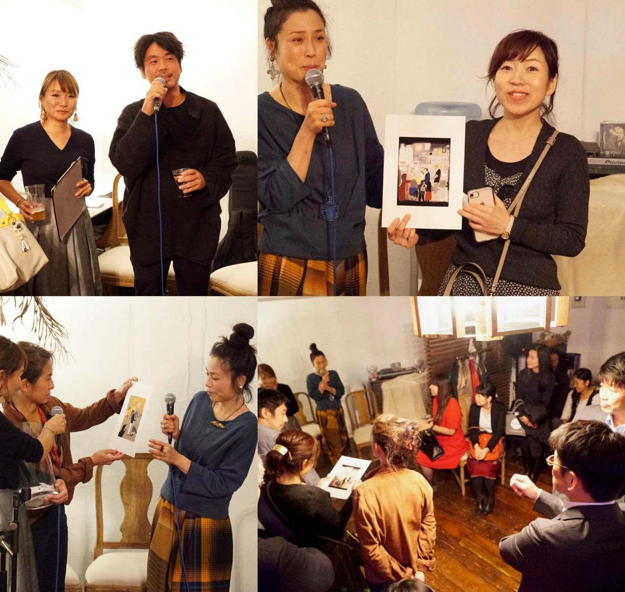 """左上はRibekaさんと松下昇平さん。右上は今回の""""一等賞""""とでも言える最後のイラストをゲットした秋田緑さん♪"""
