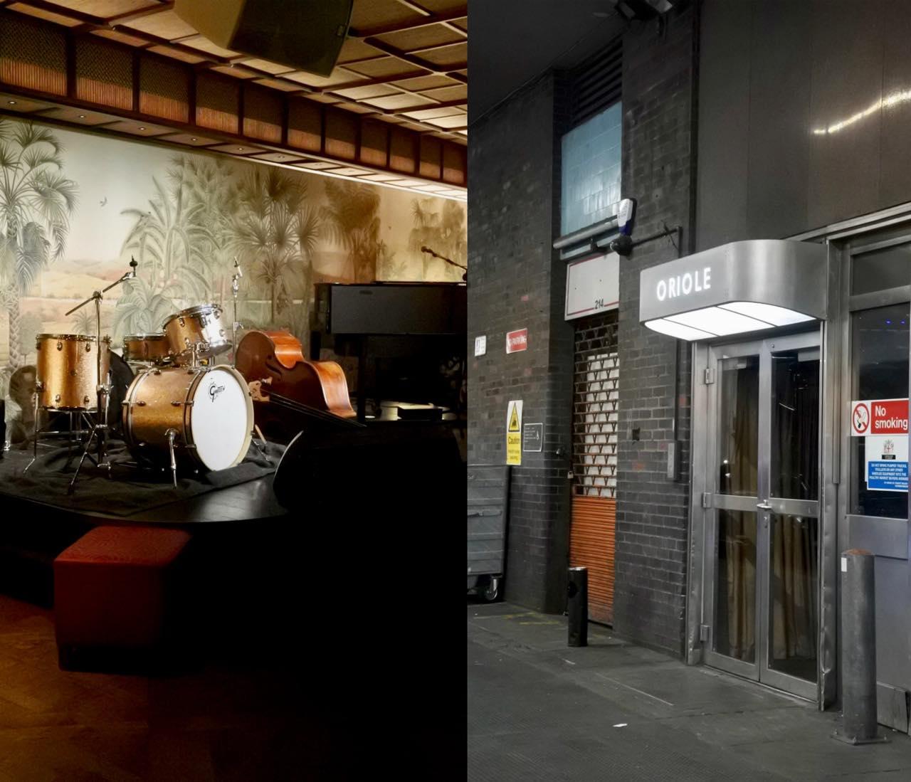 右写真がバーへの入り口! 入るとバーが右手にあり、左側にステージがあります。