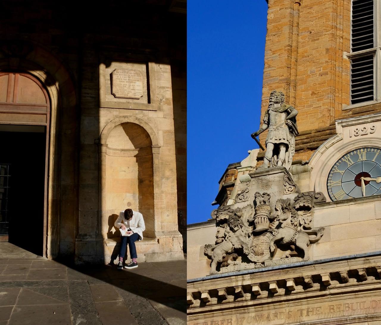 再建にあたってチャールズ2世が所領から木材を提供したため、彼の像が飾られているのです〜。コッツウォルズのライムストーンよりも、もっと濃い色が特徴というノーザンプトンシャー特産の石で作られた建物は、なかなか壮麗です。