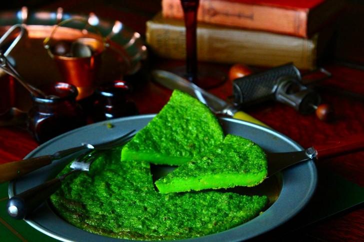ほうれん草汁で鮮やかな緑に染まったタンジーは栄養もありそう☆