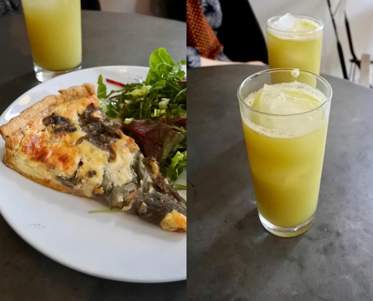 キャラメル・オニオンのキッシュ、美味しかったです ^^  やはりペイストリー部分がサクサク。パイナップルとセロリの面白い取り合わせのジュースはフレッシュで美味!