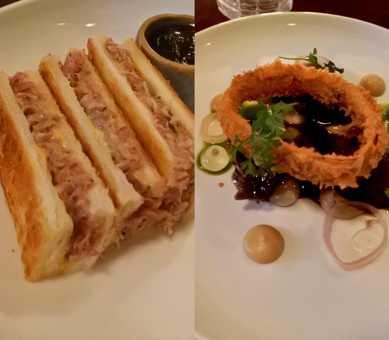 左がハム&チーズ・トースティー。上品です! 右がピッグ・チーク。柔らかくて◎