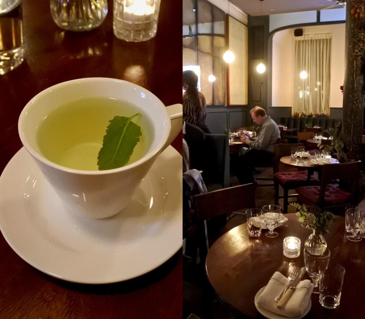 気配りのフレッシュ・ミント・ティー。ミントで一旦風味をつけてから、程よい濃さになったところでカップに入れてサーブされる。こういう出され方をしたレストランは初めてです。