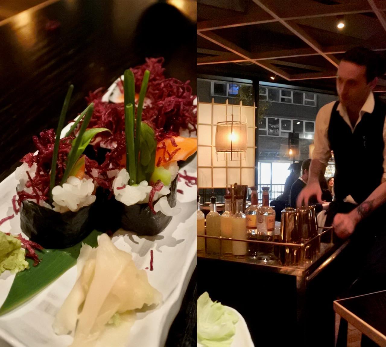 左は野菜巻き。ここの巻き寿司は日本のものとは全く違うフュージョン巻きですが、私は結構好きです ^^  右はカクテルを作ってくれるお兄さんのフロア・サービス。高級ホテルのようなサービスはエンターテインメント性が強いですね。